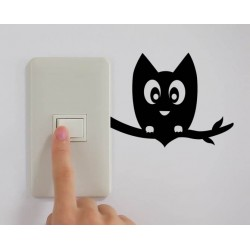 Sticker interrupteur hibou branche
