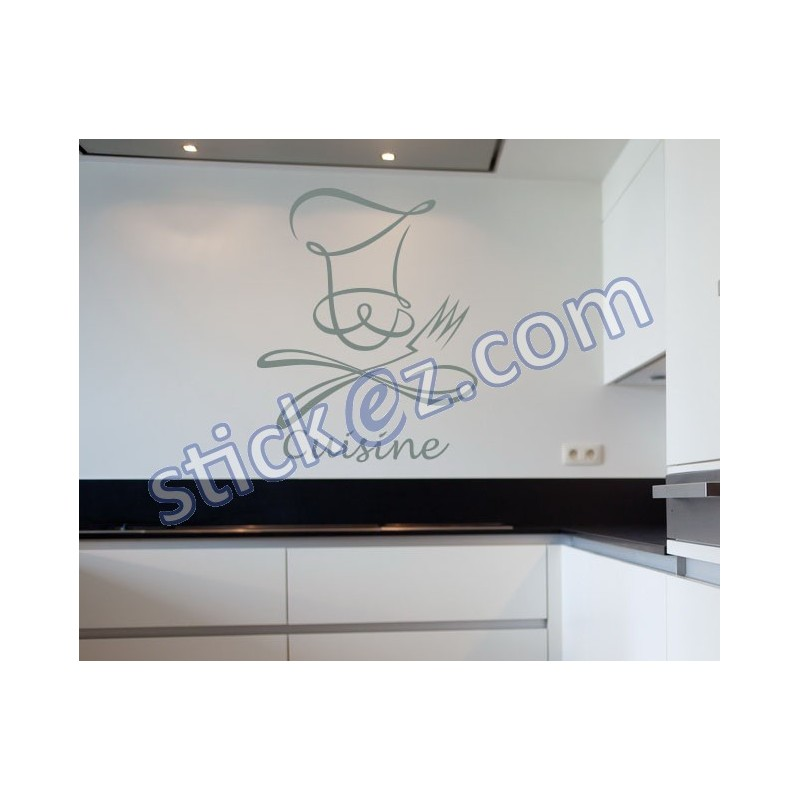 sticker ustensiles criture cuisine avec chapeau stickers pas cher. Black Bedroom Furniture Sets. Home Design Ideas