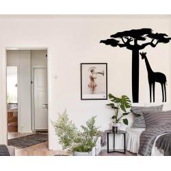 Sticker africain baobab girafe