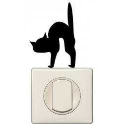 Sticker interrupteur chat poil hérissé
